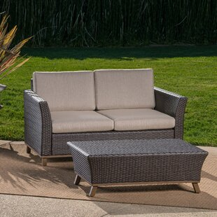 Chappelle Outdoor 2 Piece Aluminum Wicker Conversation Set With Cushions