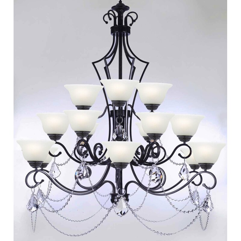 Astoria Grand Alvan 15 Light Shaded Tiered Chandelier With Crystal Accents Wayfair