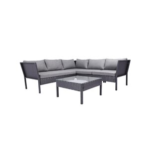 Radabaugh 4 Piece Sectional Set with Cushions by Wrought Studio