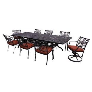 Laux 9 Piece Dining Set with Sunbrella Cushions