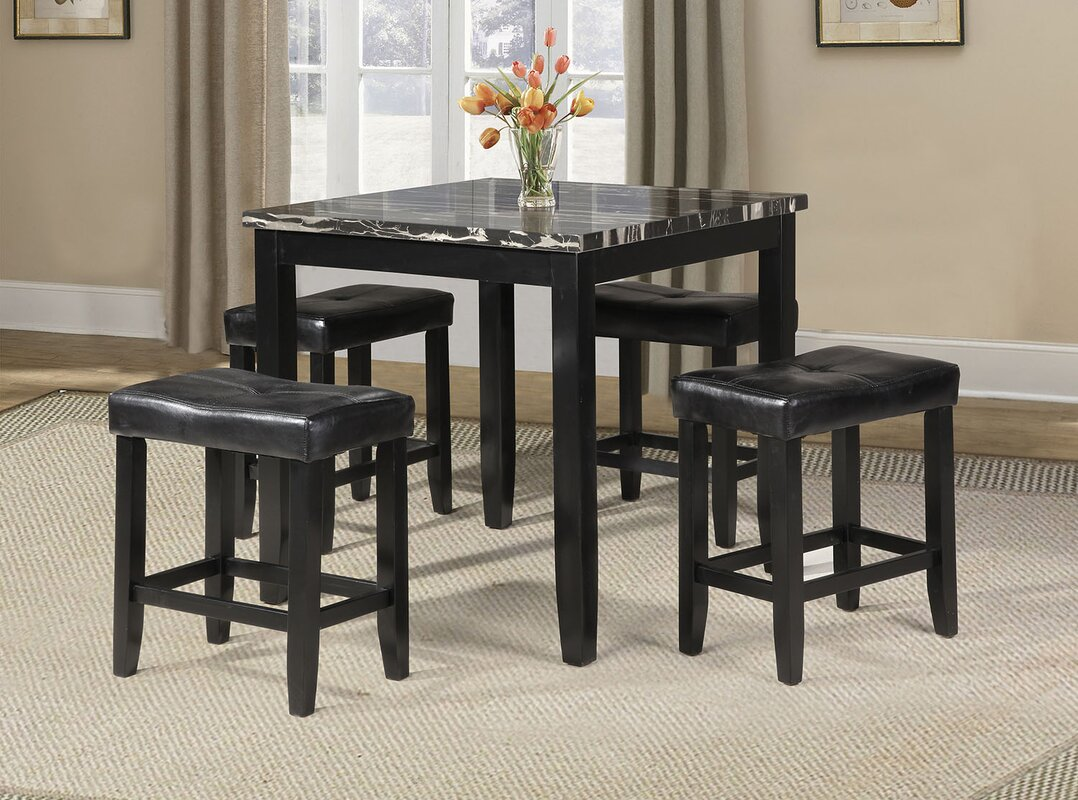 ACME Furniture Blythe 5 Piece Counter Height Dining Set & Reviews ...