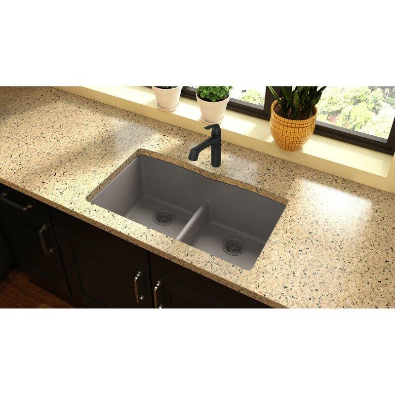 quartz classic 33   x 19   double basin undermount kitchen sink with aqua divide elkay quartz classic 33   x 19   double basin undermount kitchen      rh   wayfair com