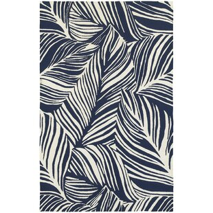 Atrium Tropical Leaf Hand-Woven Blue/Ivory Indoor/Outdoor Area Rug
