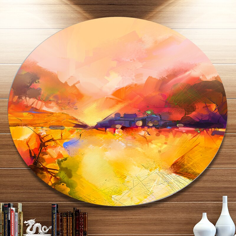 DesignArt \'Colorful Yellow Red Floral Background\' Oil Painting Print ...