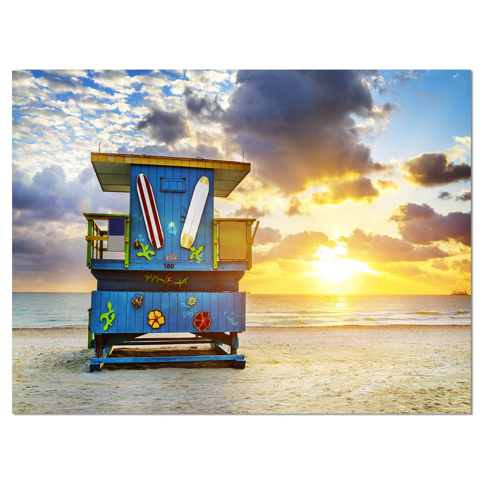Designart Miami South Beach Sunrise