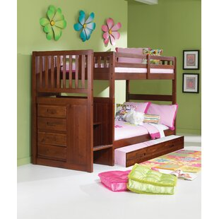 Bedingfield Mission Stair Step Twin over Twin Bunk Bed with Trundle