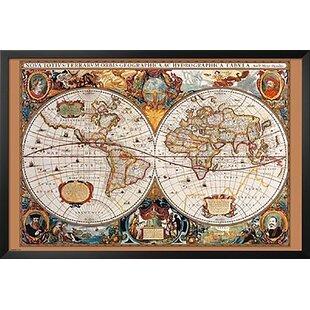 World map push pin board wayfair 17th century world map framed graphic art gumiabroncs Choice Image