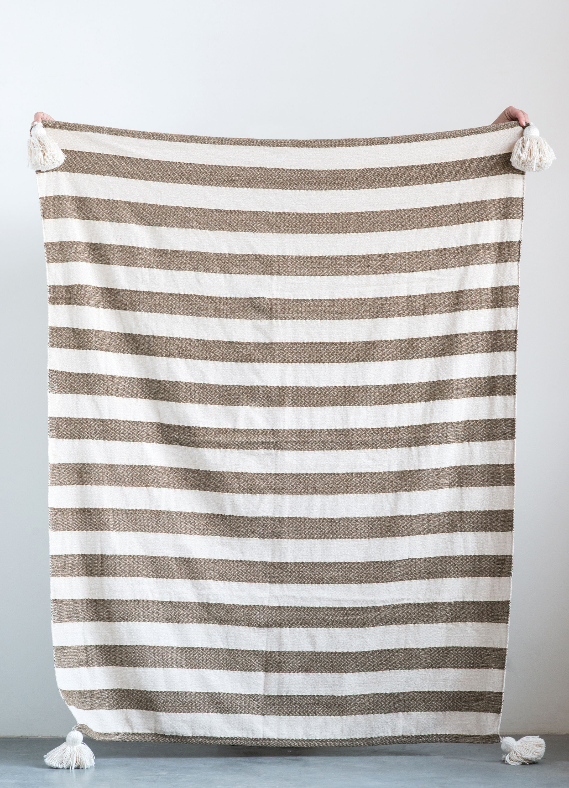 Kifer Metallic Striped Woven With Tels Cotton Blanket