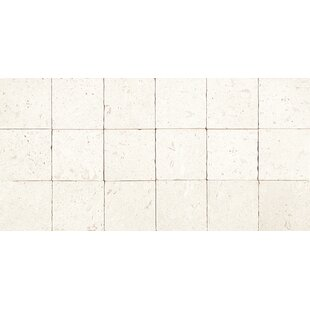 Review Tumbled 4 x 4 Limestone Mosaic Tile in Blavet Blanc by Itona Tile