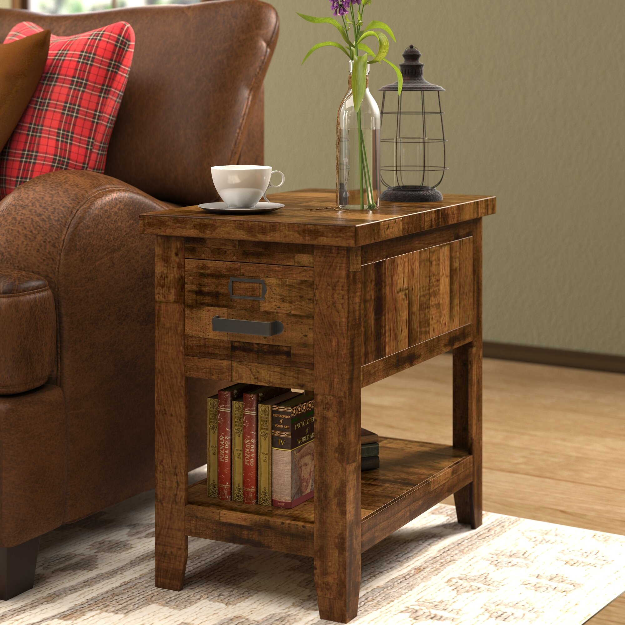 Loon Peak Archstone End Table With Storage & Reviews
