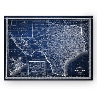 World map canvas art youll love vintage map texas graphic art print on wrapped canvas in blue gumiabroncs Gallery