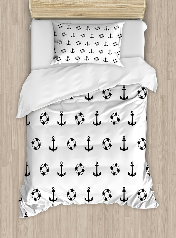 Nautical Maritime Theme Objects Anchors And Lifebuoys Pattern Navy Ocean High Seas Duvet Set