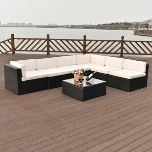 Martell Sectional 7 Piece Rattan Sofa Seating Group with Cushions