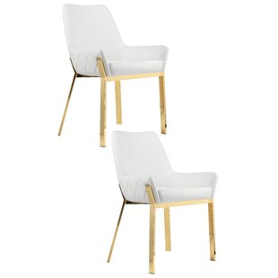Hudson Upholstered Dining Chair (Set of 2) Everly Quinn