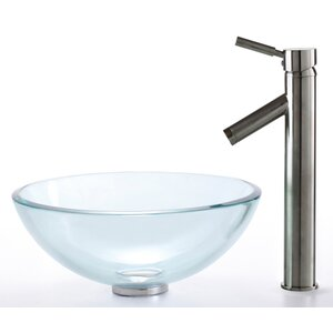 Clear Glass Circular Vessel Bathroom Sink