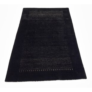 Best One-of-a-Kind Willington Gabbeh Hand-Knotted 3'9 x 6'1 Wool BlackArea Rug By Isabelline