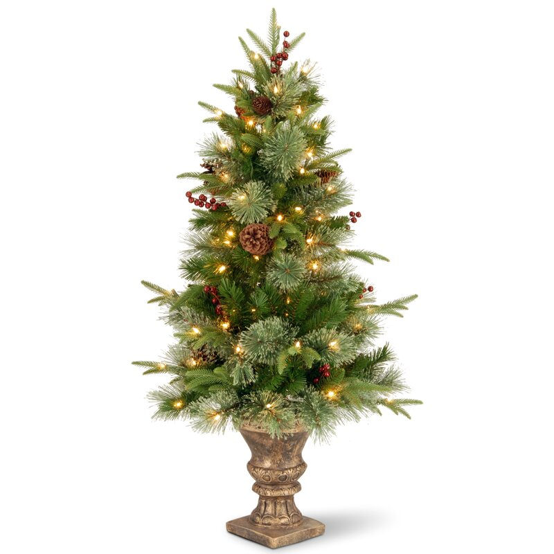 4' Green Artificial Christmas Tree with Lights with Pot
