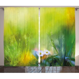 Vancleave Watercolor Flower Graphic Print and Text Semi-Sheer Rod Pocket Curtain Panels (Set of 2) by Red Barrel Studio