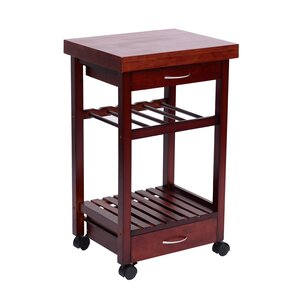 Kitchen Cart with Wood Top by HomCom Compare Price