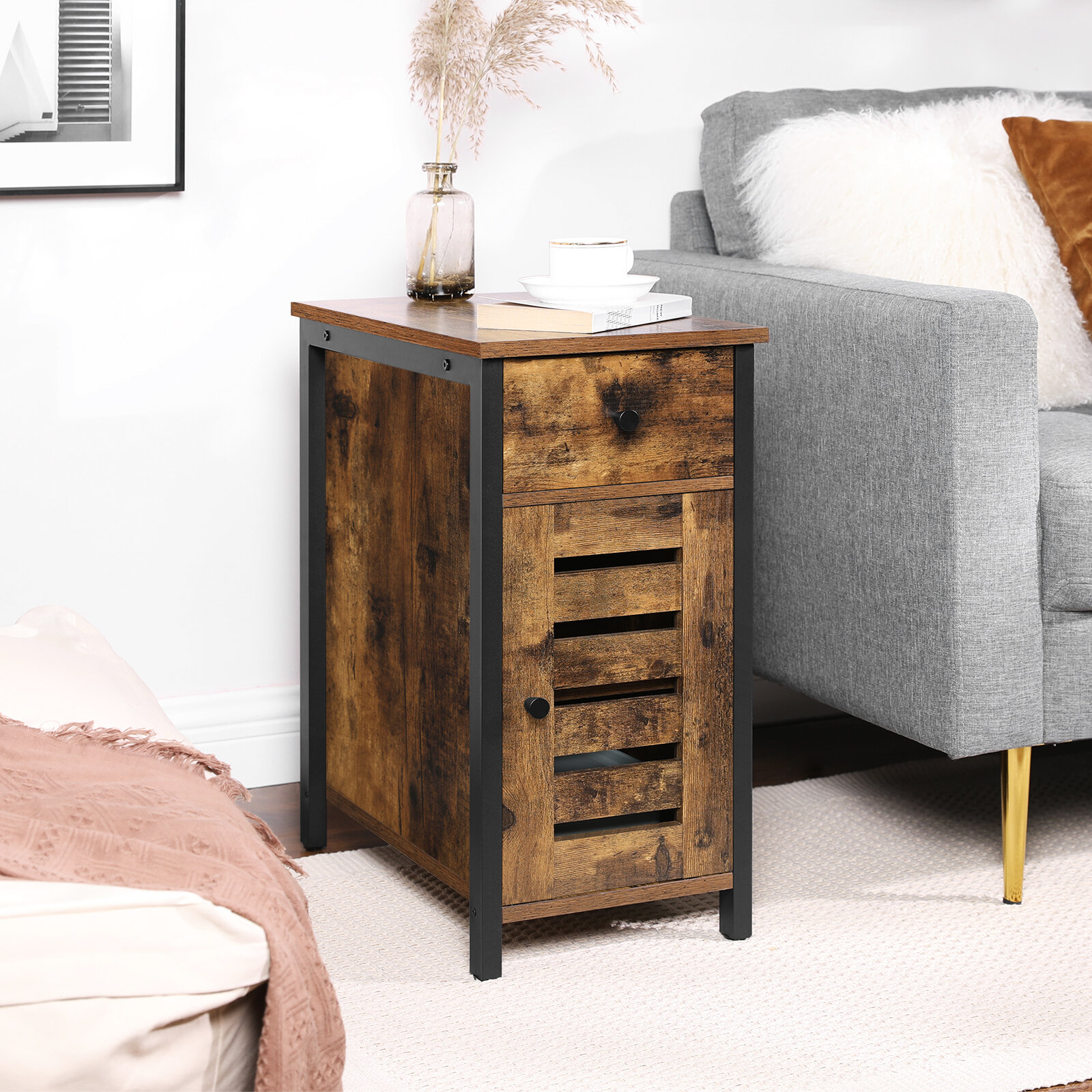17 Stories Vasagle Lowell Narrow Side Table Nightstand With Drawer Shutter Door End Table For Small Spaces Living Room Industrial Style Rustic Brown And Black Ulet066b01 Reviews Wayfair Ca