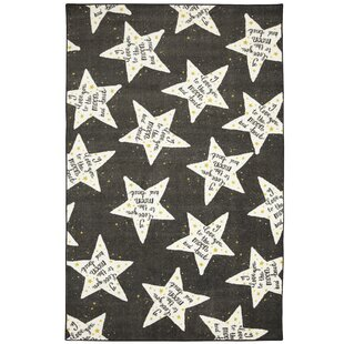 Best Reviews Engler to the Moon Black/White Area Rug By Zoomie Kids