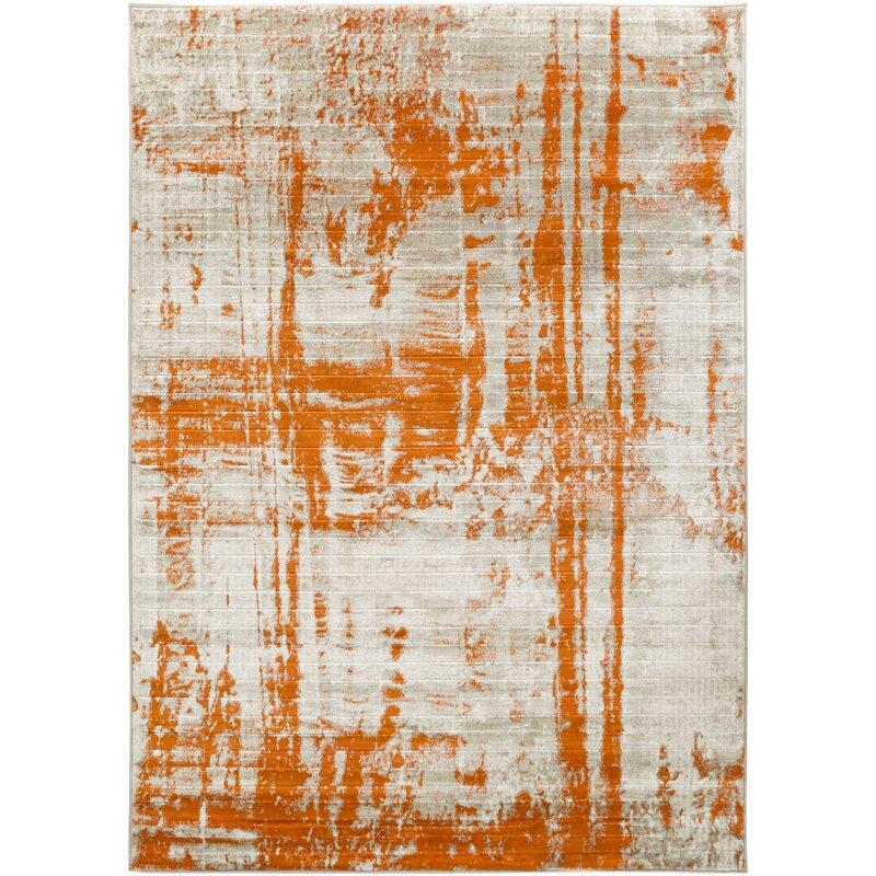 Wrought Studio Dahl Light Grey Burnt Orange Area Rug