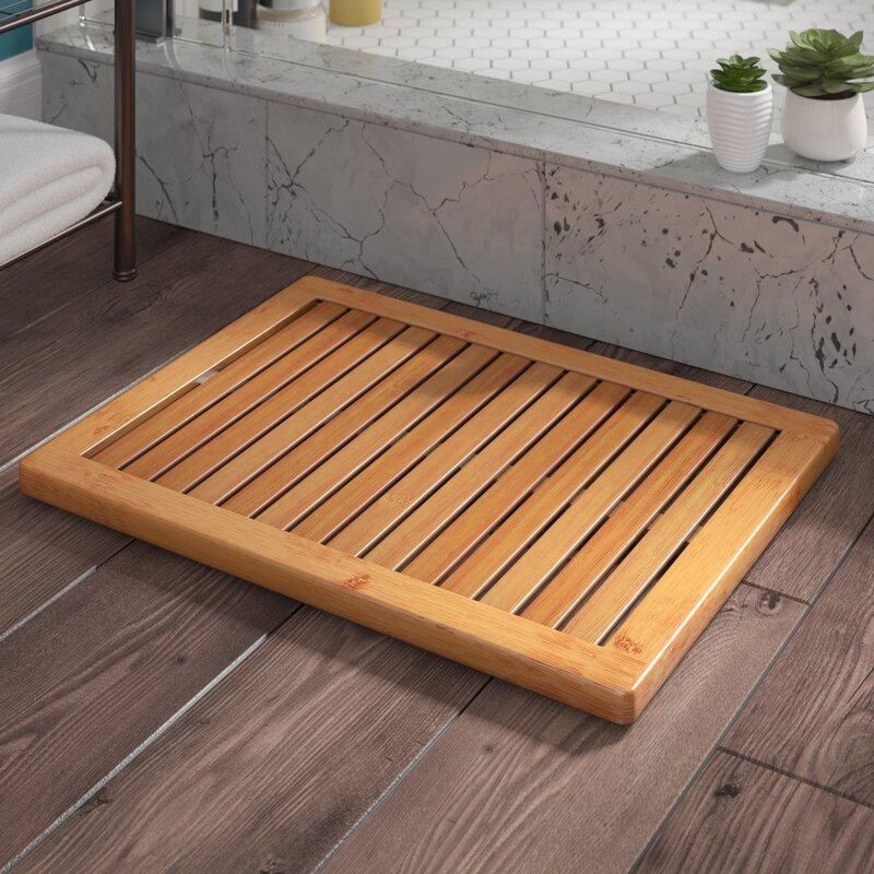 Almonte Bamboo Floor Shower Mat Bath Rugs