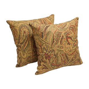 Wheat Paisley Throw Pillow (Set of 2)