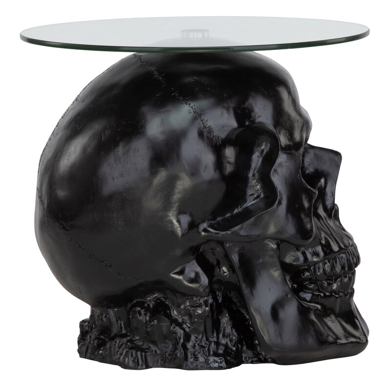 Lost Souls Gothic Skull Glass Topped End Table