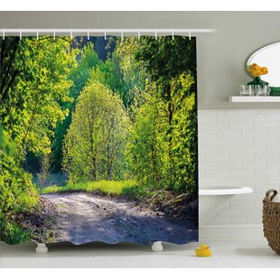 Trees along The Road Single Shower Curtain