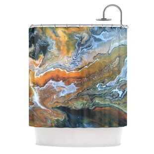 Affordable Geologic Veins Shower Curtain By East Urban Home