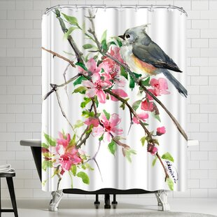 Suren Nersisyan Titmouse and Cherry Blossom Single Shower Curtain