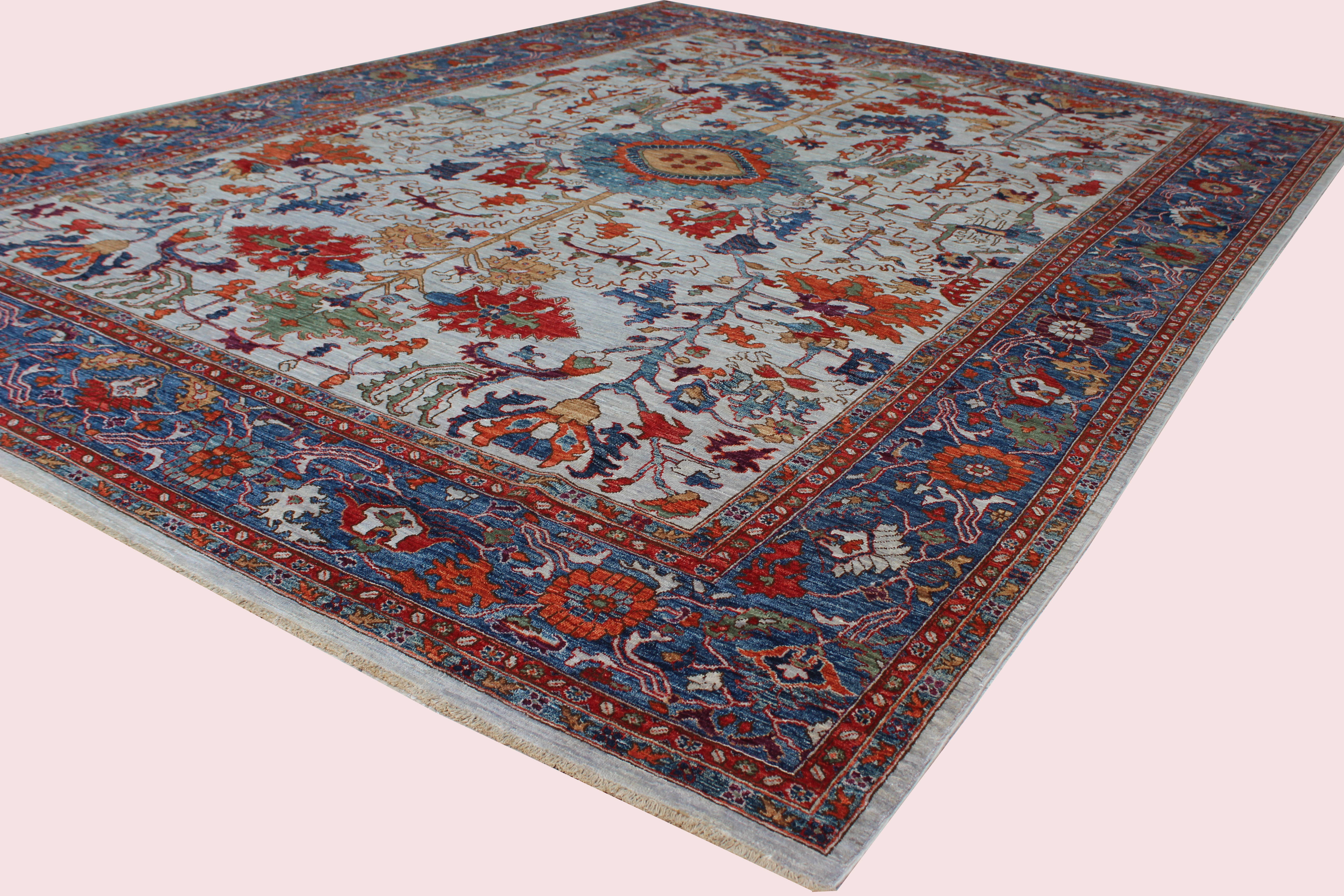 Bokara Rug Co Inc Aryana Oriental Hand Knotted Wool Ivory Red Blue Area Rug Wayfair