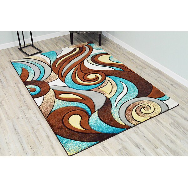 Ivy Bronx Mccampbell Abstract Brown Blue Gray Area Rug Reviews Wayfair