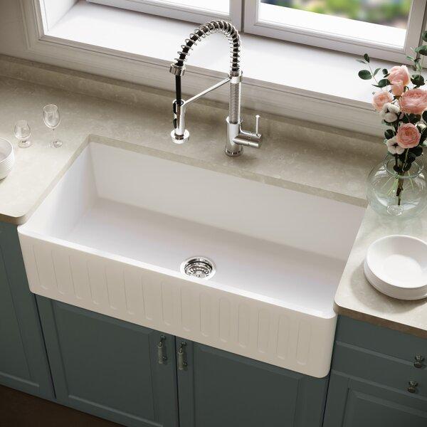 Vigo Matte Stone 36 L X 18 W Farmhouse Kitchen Sink With Basket Strainer Reviews Wayfair
