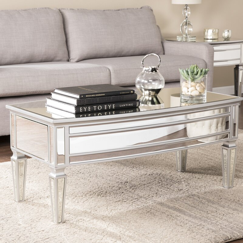 House Of Hampton Elosie Mirrored Coffee Table Reviews Wayfair