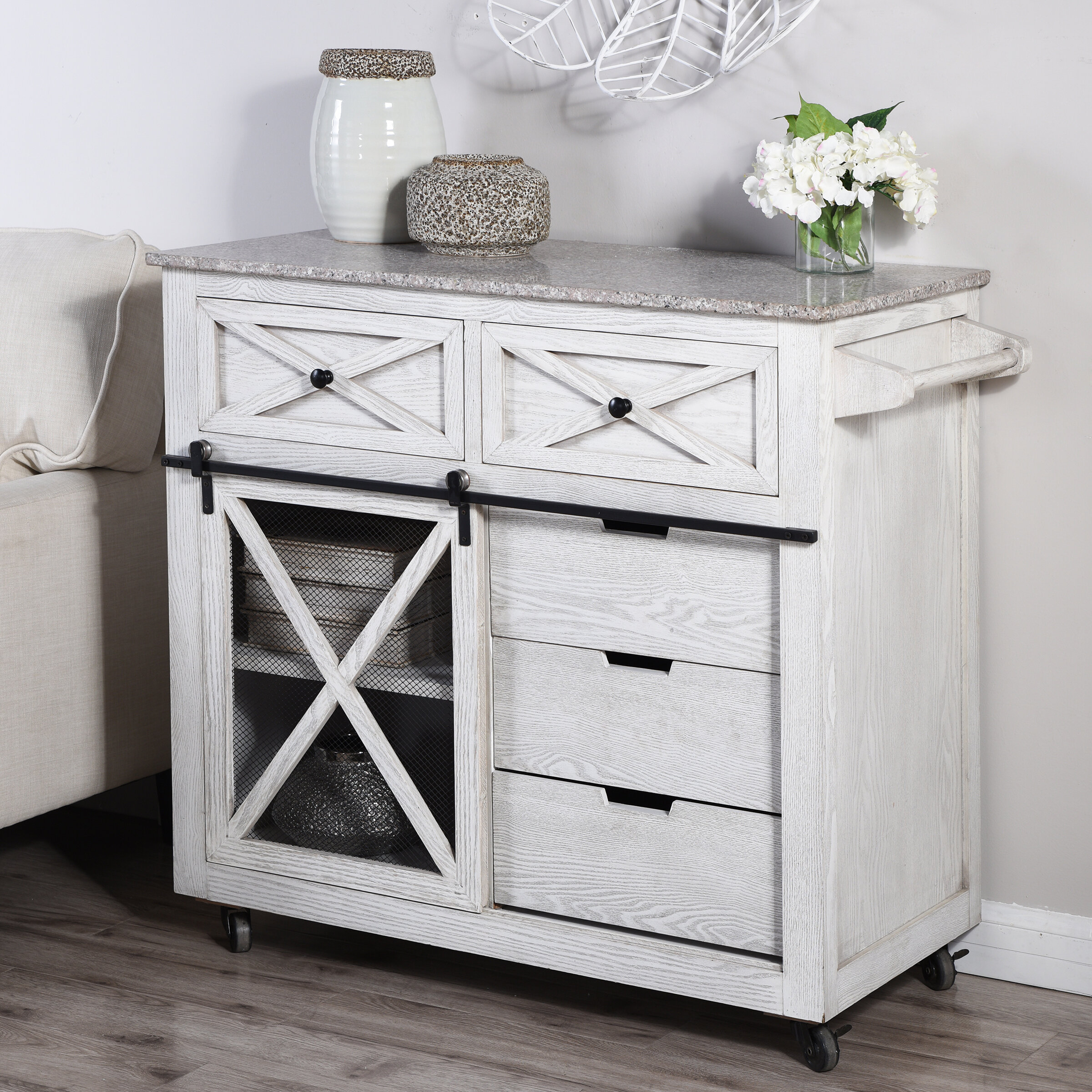 Gracie Oaks Fazio 36 50 Kitchen Island With Solid Wood Top And Locking Wheels Reviews Wayfair
