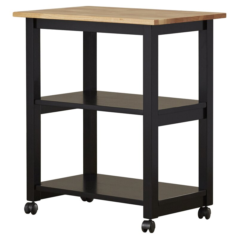August Grove Wooler Kitchen Cart with Butcher Block Top & Reviews ...