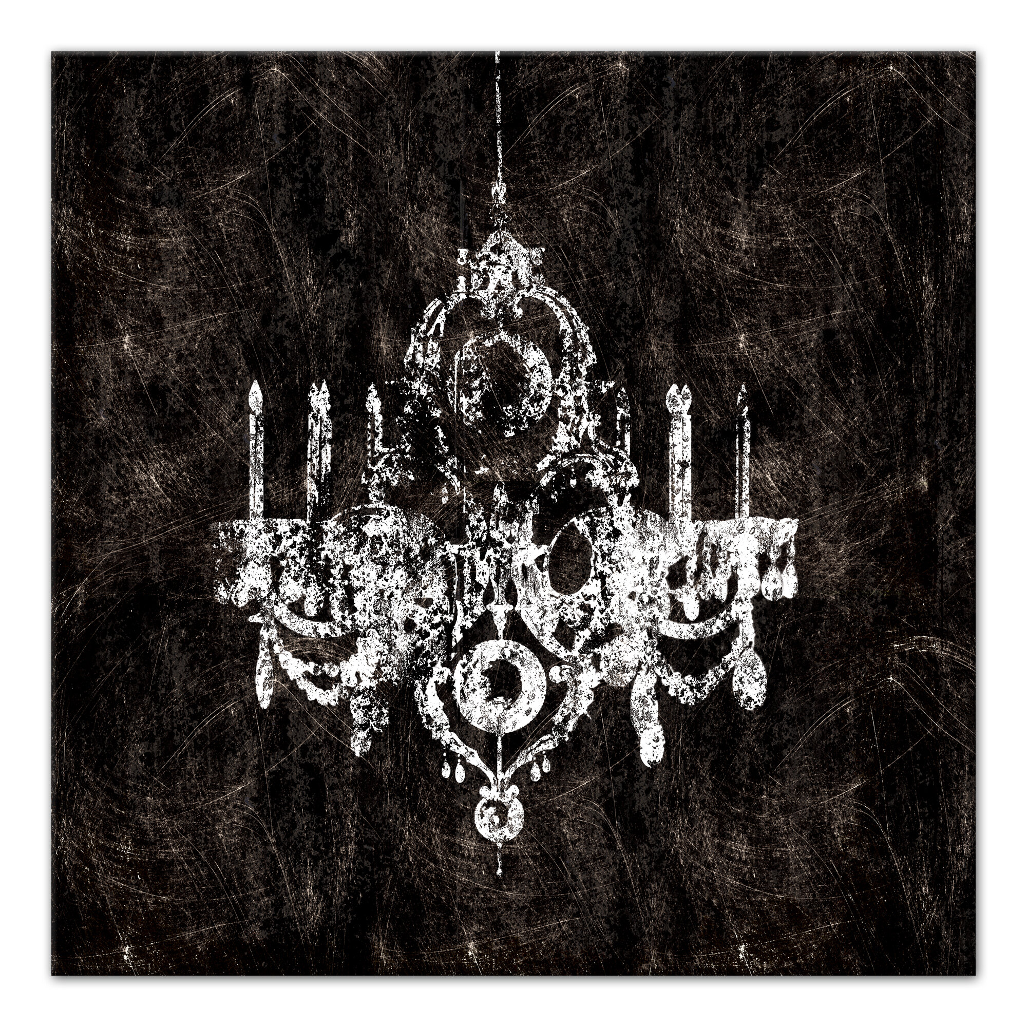 Rosdorf Park Black And White Chandelier Graphic Art Print On Wrapped Canvas Wayfair