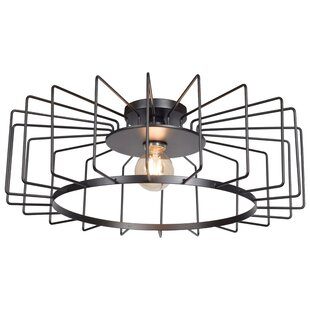 Price comparison Mcelrath Horizontal Cage 1-Light Flush Mount By Williston Forge