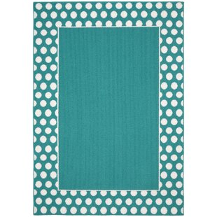 Best Choices Polka Dot Frame Teal/White Area Rug By Garland Rug