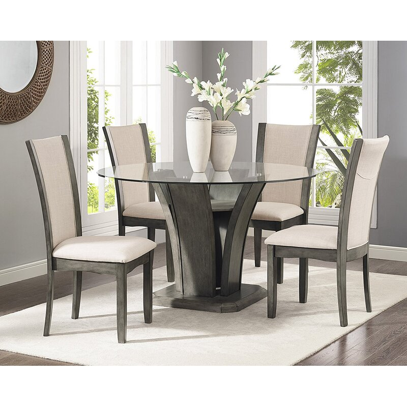 Superieur Kangas 5 Piece Glass Top Dining Set
