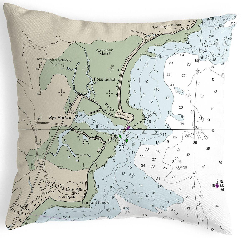 Highland Dunes Rothermel Rye Harbor Nh Nautical Map Indoor Outdoor Lumbar Pillow Wayfair