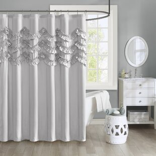 Avrah Ruffle Microfiber Single Shower Curtain