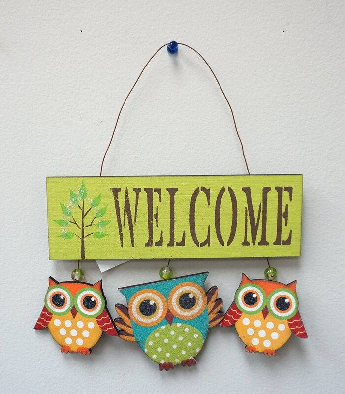 AttractionDesignHome 3 Piece Owl Welcome Sign Wall Decor Set ...