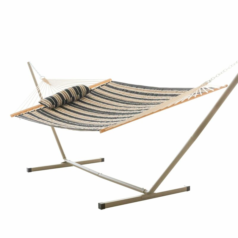 Sol 72 Outdoor  Amaryllis Quilted Tree Hammock with Stand Color: Black and Beige Stripe