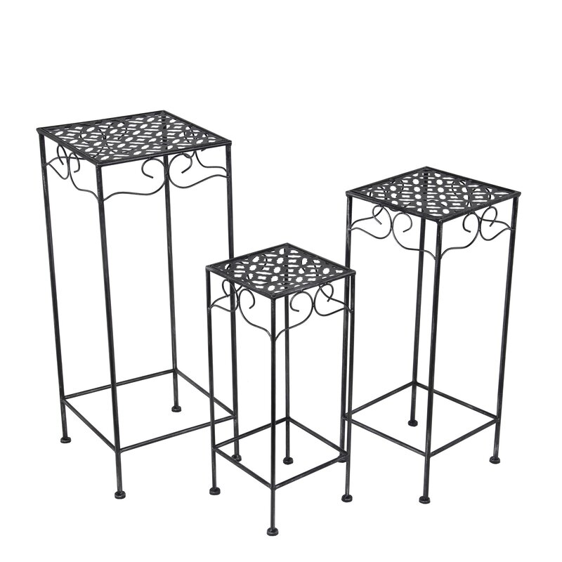 Alcott Hill Schneider 3 Piece Metal/Glass Nesting Plant Stand