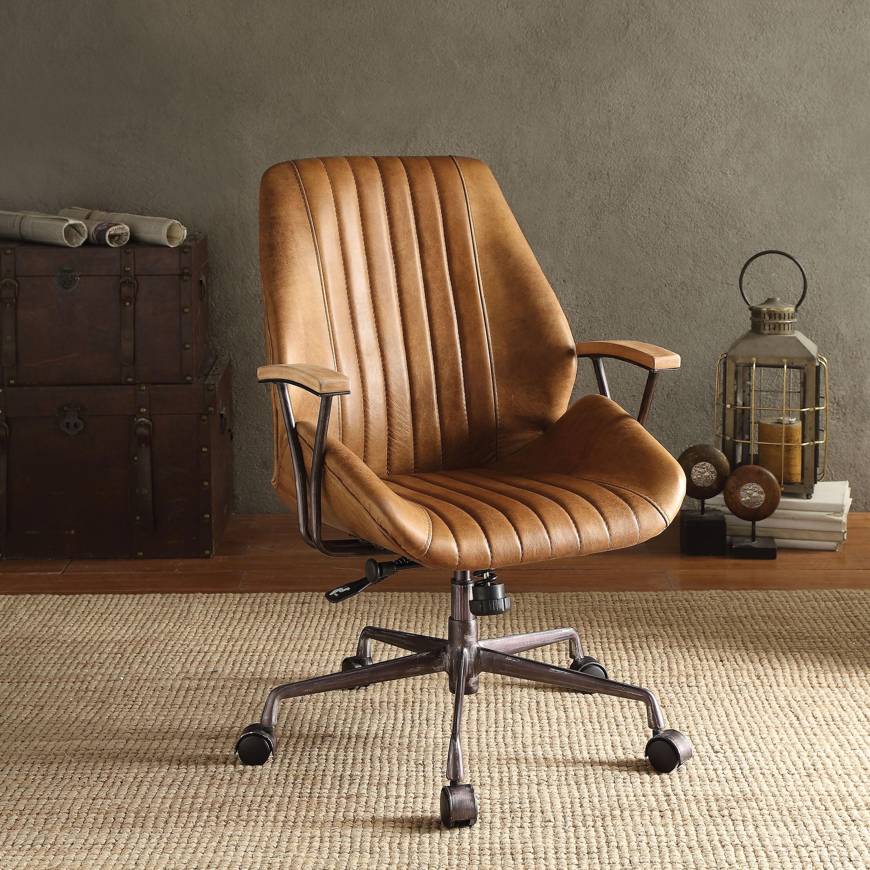 & Greyleigh Kirbyville Genuine Leather Task Chair u0026 Reviews | Wayfair