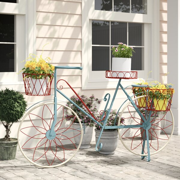 One Allium Way Lutie Metal Bike Plant Stand Reviews Wayfair