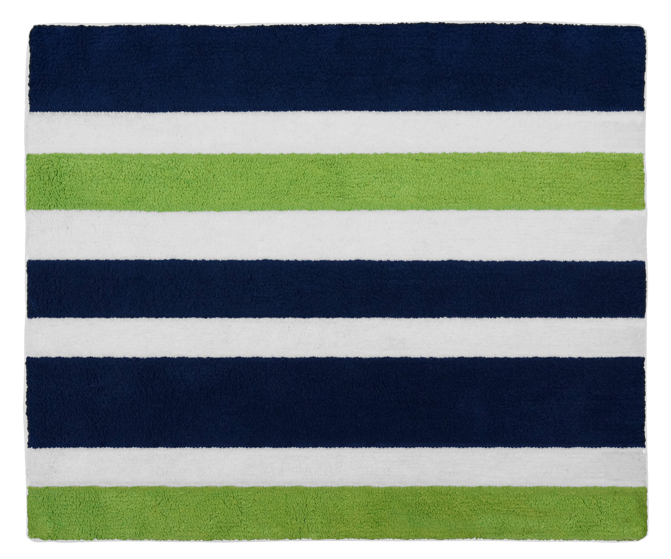 Sweet Jojo Designs Navy Blue And Lime Green Stripe Bath Rug U0026 Reviews |  Wayfair